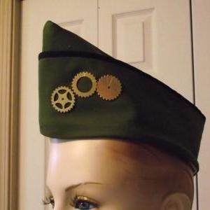Steampunk Military Hat with Gears S..