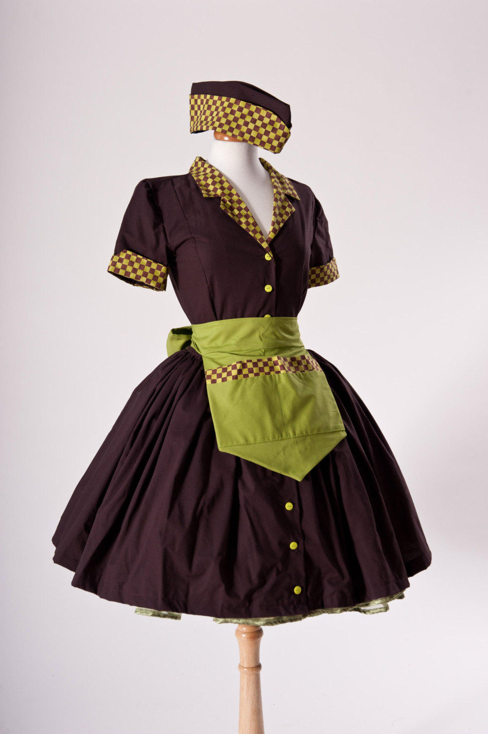Zombie Pinup Car Hop Retro 50s Waitress Dress Apron And Hat ...