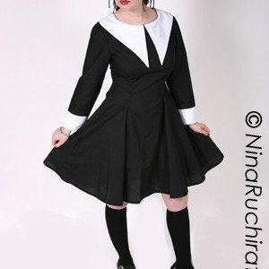 Gothic Lolita Dress Lenore Dress Aline Black with White Collar Long Sleeves with Cuffs Halloween Costume Custom Size Plus Size All Sizes