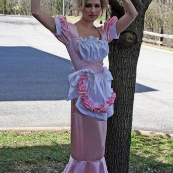 Long Swiss Maid Little Bo Peep Hobble Dress Costume Sissy Satin Bows Ruffles Apron Pink and White Custom Size